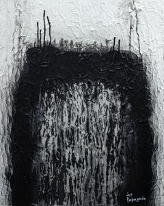Black and white textured painting, Painting, Acrylic on Canvas