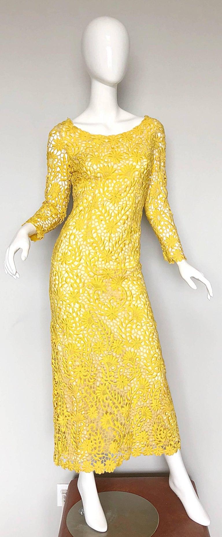 dc600923ac1 Joe Salazar Rare 1960s Canary Yellow Hand Crochet Vintage 60s Maxi ...