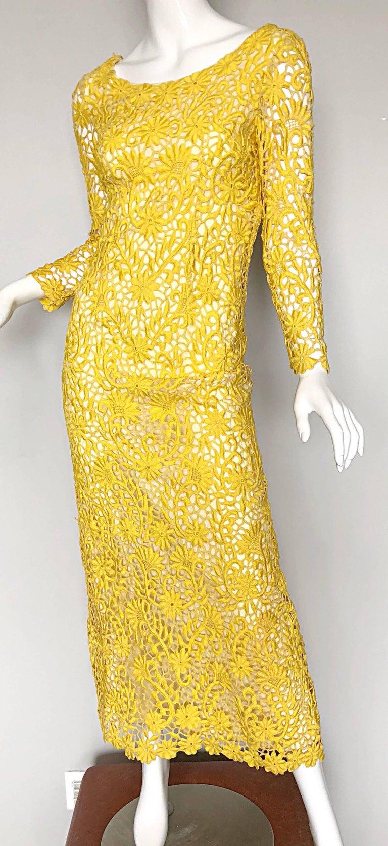 8634c474c7f Women s Joe Salazar Rare 1960s Canary Yellow Hand Crochet Vintage 60s Maxi Dress  Gown For Sale