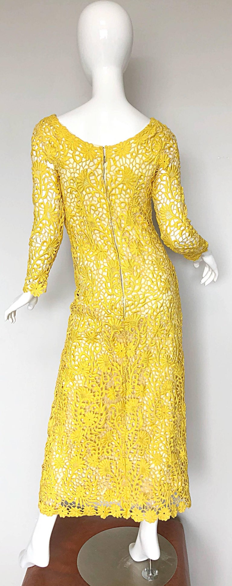 f1eb1856bfe Joe Salazar Rare 1960s Canary Yellow Hand Crochet Vintage 60s Maxi Dress  Gown For Sale 1