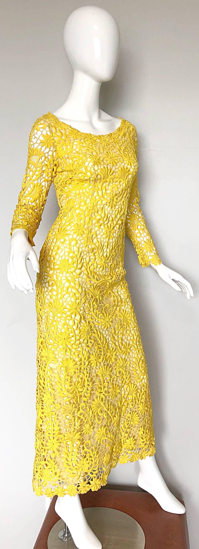 f97c6df2771 Joe Salazar Rare 1960s Canary Yellow Hand Crochet Vintage 60s Maxi Dress  Gown For Sale 2
