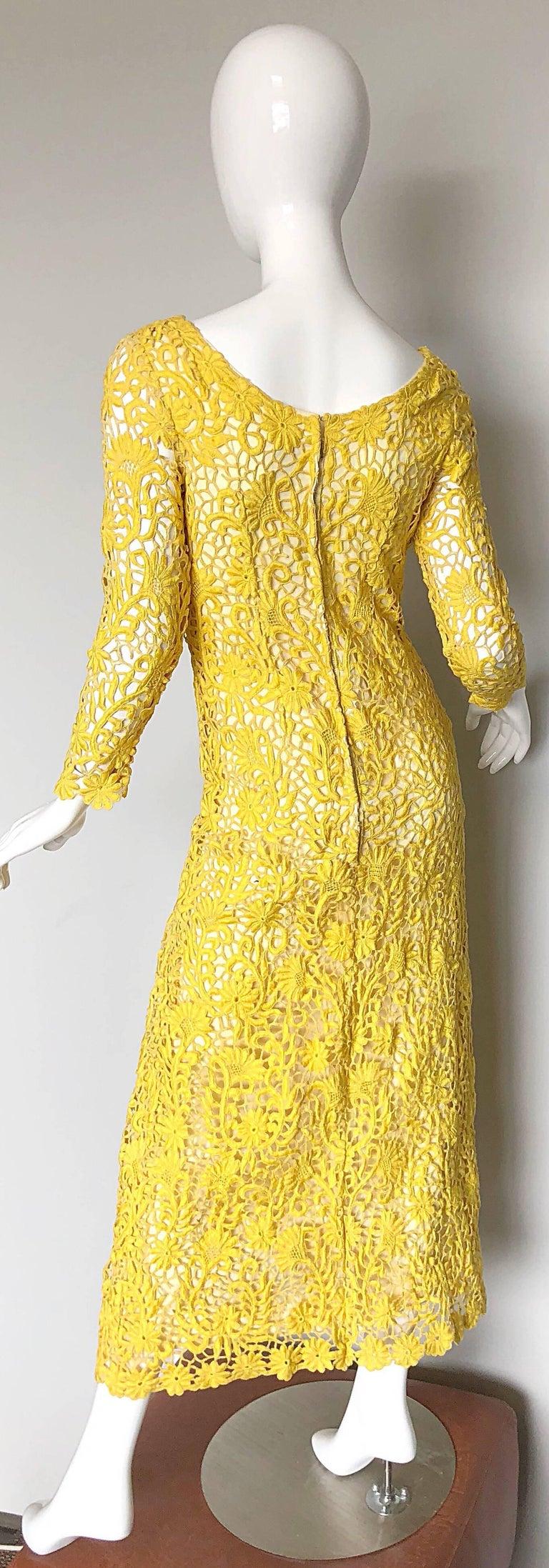 a9c67006139 Joe Salazar Rare 1960s Canary Yellow Hand Crochet Vintage 60s Maxi Dress  Gown For Sale 4