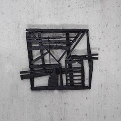 2 Dollar Pistol, black abstract geometric wooden sculpture