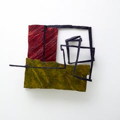 Composition With Avocado, multicolored abstract geometric wooden sculpture
