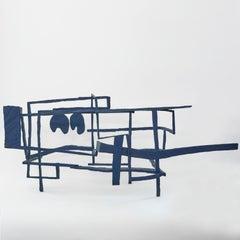 Hands Down, blue abstract geometric wooden sculpture