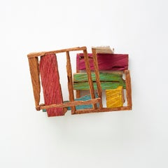 Harry's Cherry, bright multicolored abstract geometric wooden sculpture