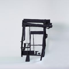 In The Garden At Dusk, black abstract geometric wooden sculpture