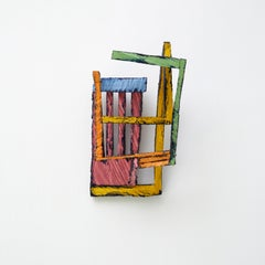 L7, bright multicolored abstract geometric wooden sculpture