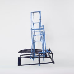 Lever House, blue abstract geometric wooden sculpture