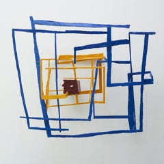 No Rain, No Rose, blue and yellow abstract geometric wooden sculpture