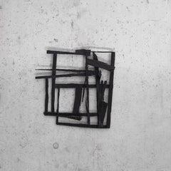 Norwegian Wood, black abstract geometric wooden sculpture