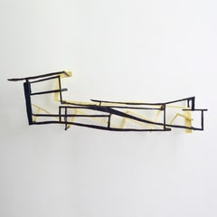 Perpetual Motion, yellow and black abstract geometric wooden sculpture