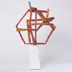 Portrait Of My Grandfathers, bright multicolored abstract wooden sculpture