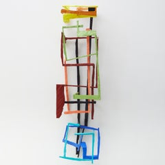 Promise Of The Fisherman, bright multicolored abstract wooden sculpture