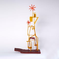 The One Way Girl, bright multicolored abstract geometric wooden sculpture
