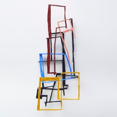 Vovo's Vertical, bright multicolored abstract geometric wooden sculpture