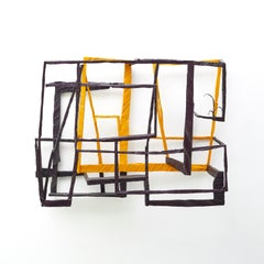 Walking Sticks, yellow and black abstract geometric wooden sculpture