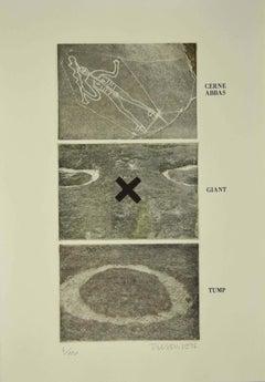 Cerne Abbas, Giant, Tump - Original Etching on Paper by Joe Tilson - 1976