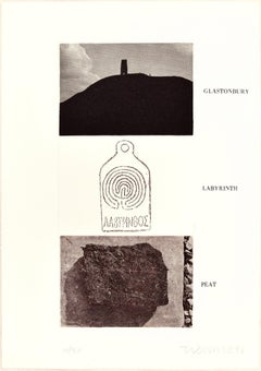 Glastonbury, Labyrinth, Peat - Original Erching by Joe Tilson - 1976
