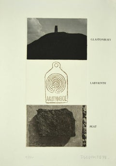 Glastonbury, Labyrinth, Peat - Original Etching on Paper by Joe Tilson - 1976