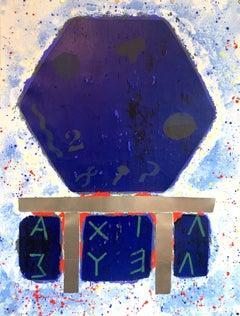 Joe Tilson British Pop Art Screenprint, Woodblock, Silver Leaf Print