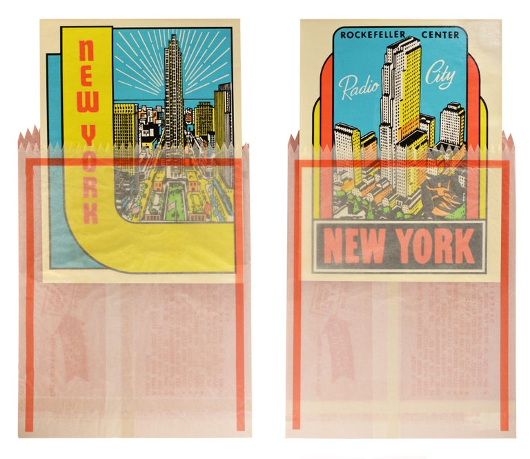 Joe Tilson Figurative Print - JOE TILSON, NEW YORK DECALS 3 AND 4, Screenprint, Signed, 1967