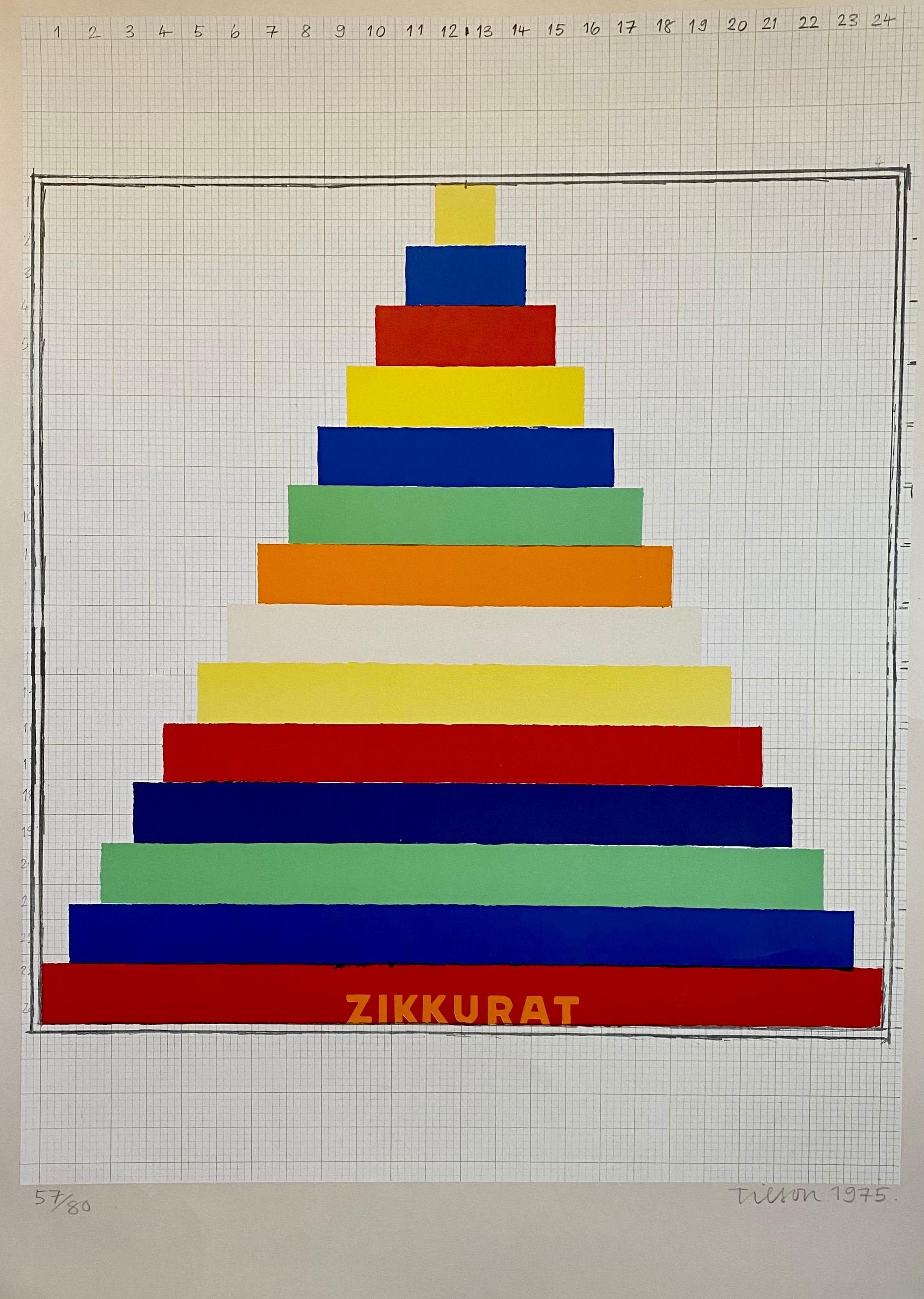 Vibrant 1975 Joe Tilson British Pop Art Screenprint, Woodblock, Colorful Print
