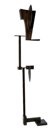 Some Guy #2: Abstract Geometric Standing Sculpture in Dark Brown Oxidized Steel