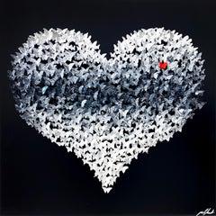 Flying Love (Black), Mixed Media Metal Wall Sculpture