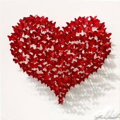 Flying Love - Red, Mixed Media Metal Wall Sculpture