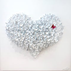 Flying Love (white), Mixed Media Metal Wall Sculpture