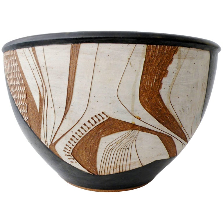 Joel Edwards Abstract California Studio Pottery Large Bowl or Planter For Sale