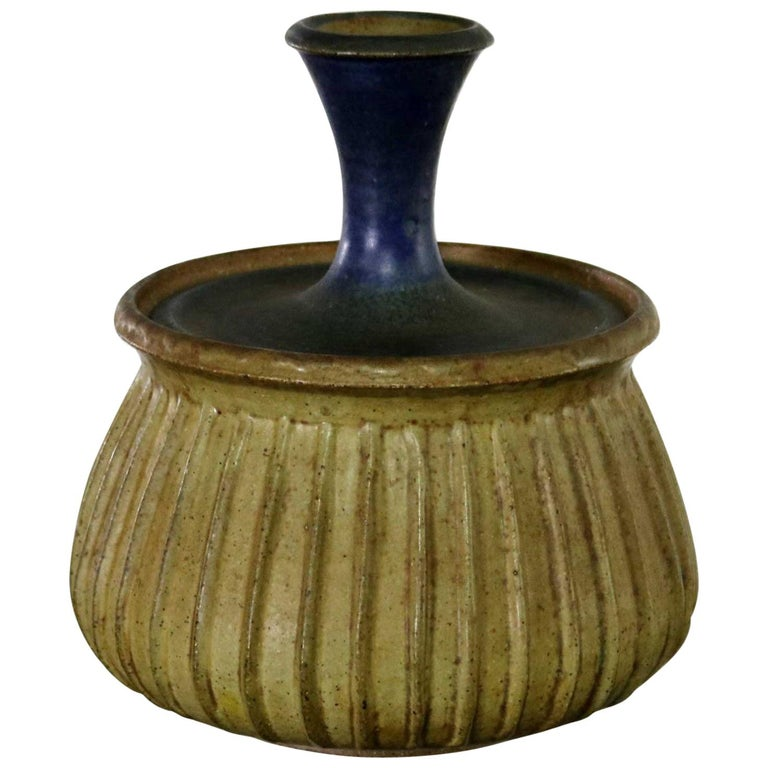 Joel Edwards Stoneware Lidded Vessel Mid-Century Modern For Sale