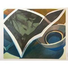 "Large Joel Janowitz Boston Modernist Oil Painting ""Boundaries"" Piranesi Series"