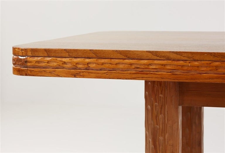 Wrought Iron Joel Norborg, Library Table, Oak & Oak, Sweden, 1910 For Sale