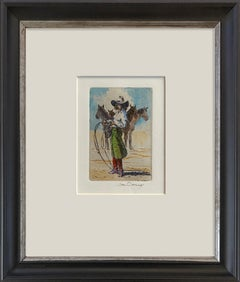 Lily of the West VIII (Etching, watercolor, cowgirl, attitude, horses)