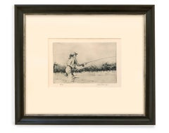 Tight Lines 18/72 (Etching, woman, fly fishing, river)