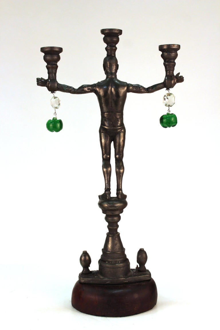 Joel Otterson G.I. Joe Candelabras in Cast Iron In Good Condition For Sale In New York, NY