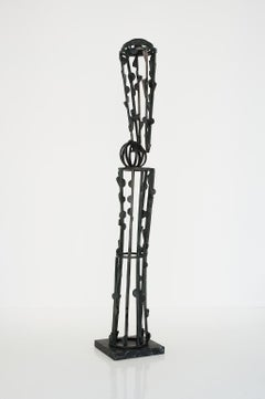 """""""Black Tower"""" Large-Scale, Abstract Metal Sculpture in bronze"""