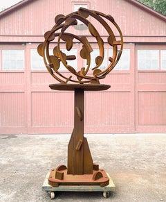 """Heavy Round Table"" Abstract, Outdoor Metal Sculpture in welded steel"