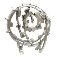 """""""Stainless Circle"""" Abstract, Metal Sculpture in shiny stainless steel, Silver"""