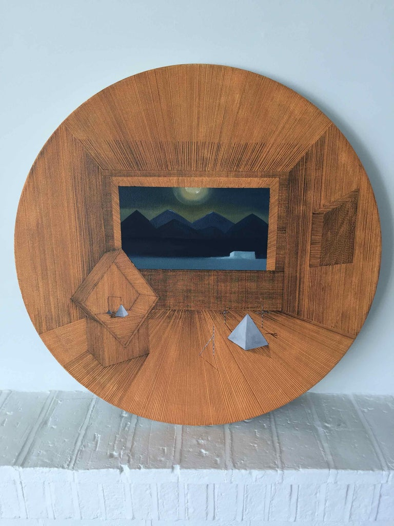 Gateway: Round Perspective Drawing/Painting about Imaginary Spaces - Black Interior Painting by Joella Wheatley