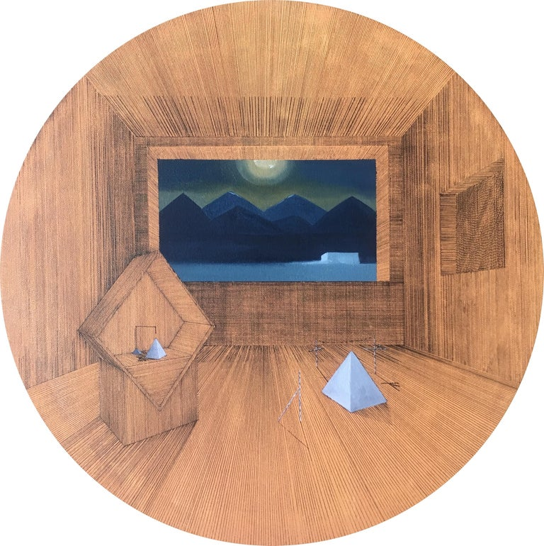 Joella Wheatley Interior Painting - Gateway: Round Perspective Drawing/Painting about Imaginary Spaces