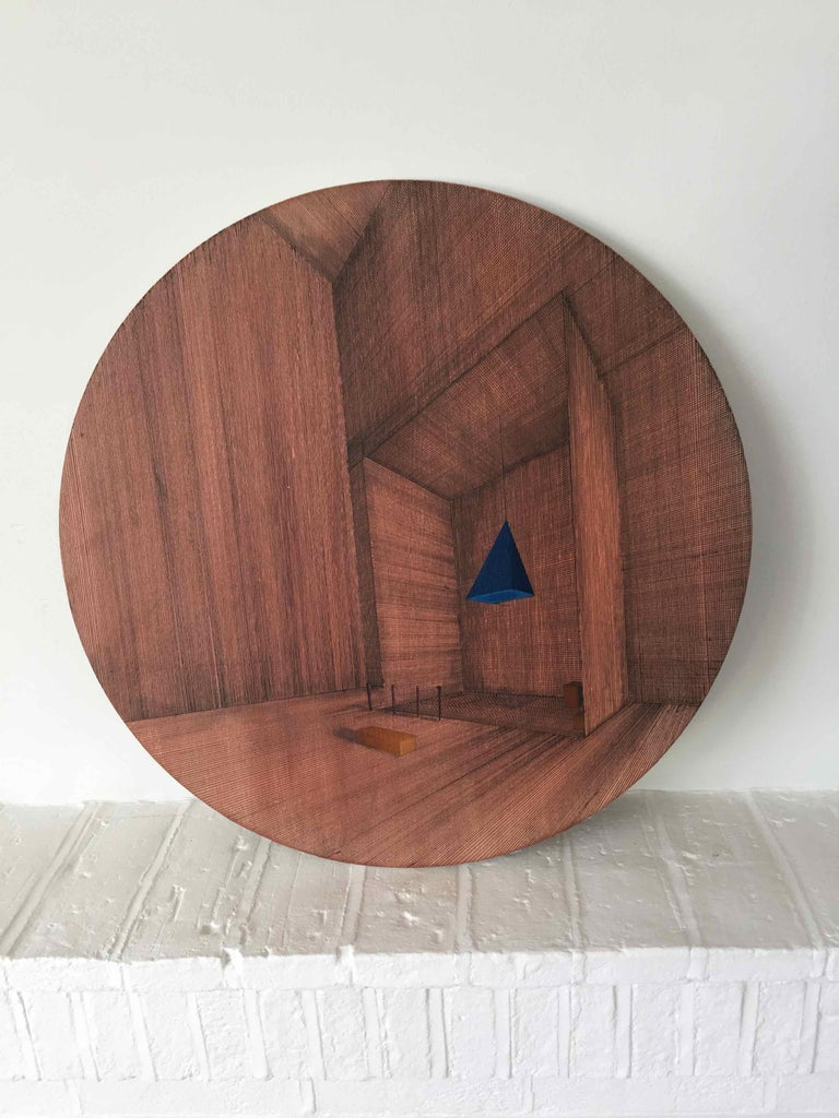 Hung: Round Perspective Drawing/Painting of Imaginary Spaces by Joella Wheatley For Sale 1