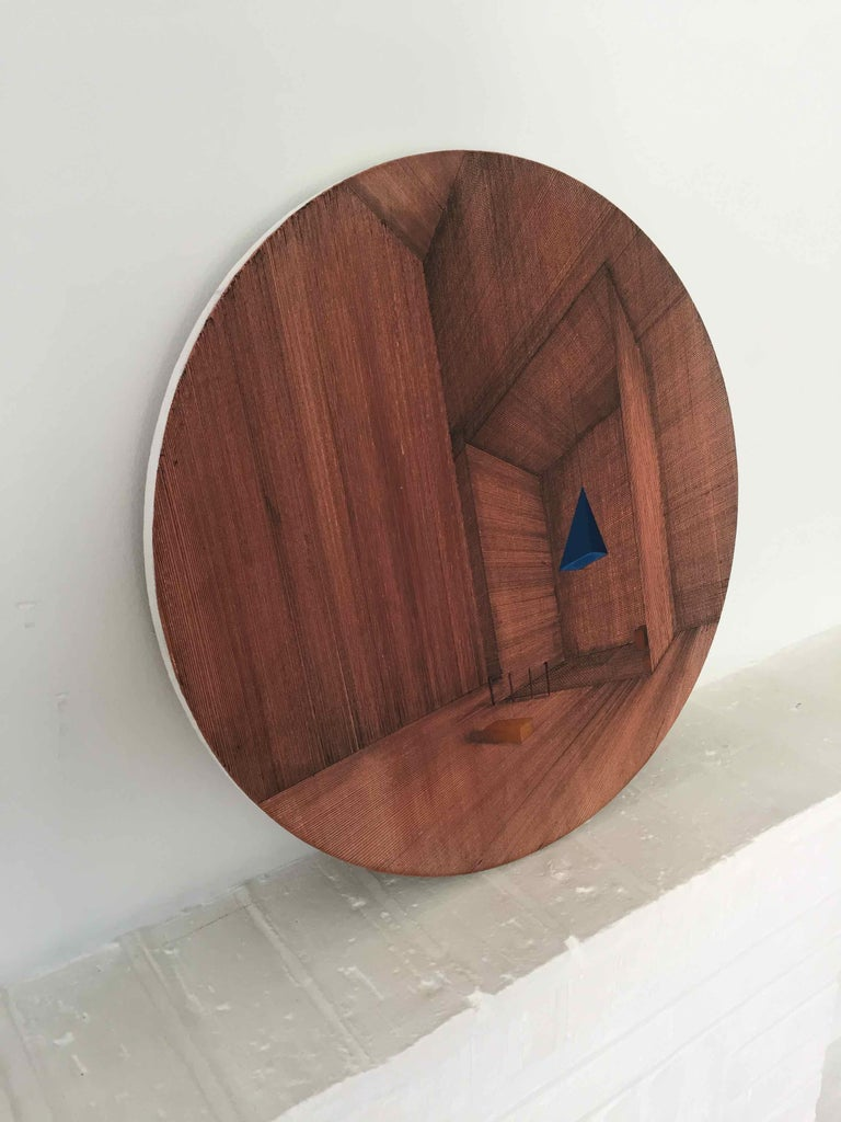 Hung: Round Perspective Drawing/Painting of Imaginary Spaces by Joella Wheatley For Sale 2