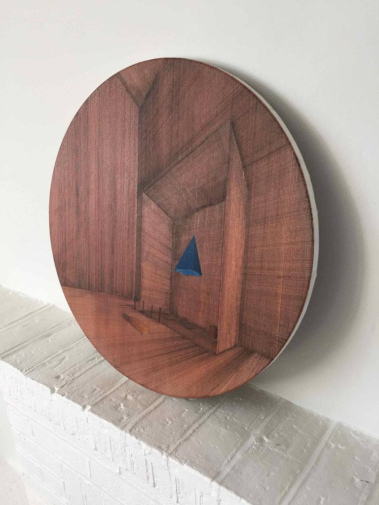 Hung: Round Perspective Drawing/Painting of Imaginary Spaces by Joella Wheatley For Sale 3
