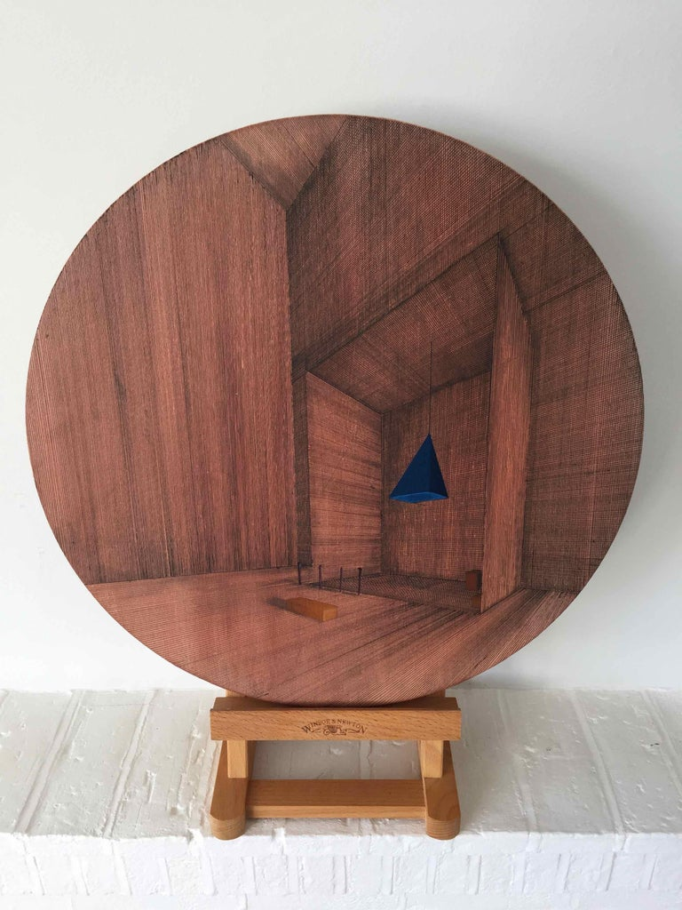 Hung: Round Perspective Drawing/Painting of Imaginary Spaces by Joella Wheatley For Sale 4