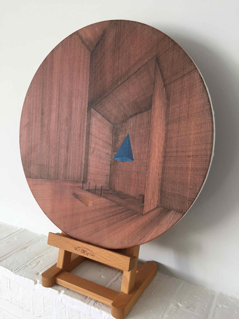 Hung: Round Perspective Drawing/Painting of Imaginary Spaces by Joella Wheatley For Sale 5