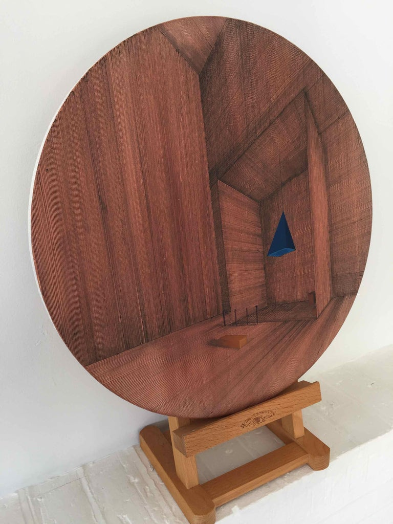 Hung: Round Perspective Drawing/Painting of Imaginary Spaces by Joella Wheatley For Sale 6