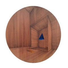 Hung: Round Perspective Drawing/Painting of Imaginary Spaces by Joella Wheatley